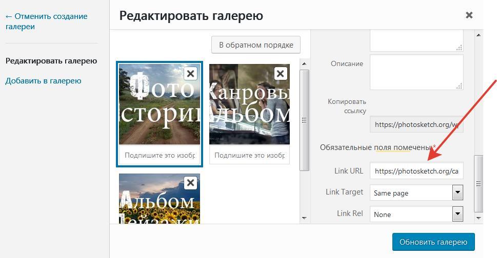 .Находим поле «Gallery Link URL» и прописываем в нем нужную нам ссылку, например на какую- нибудь рубрику или запись