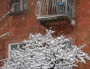 зима в городе Запорожье