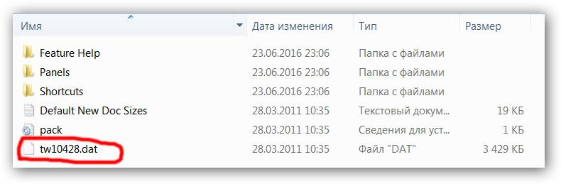 В папке «Support Files» ищем файл tw10428.dat.