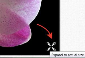 В увеличенном состоянии в правом углу картинки появляется активный элемент, нажав на который можно увеличить наше изображение до максимального размера.